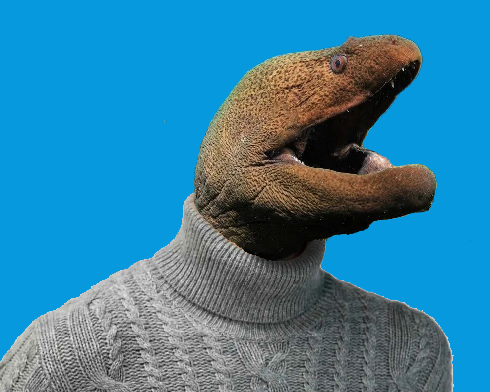 a moray eel in a turtleneck sweater