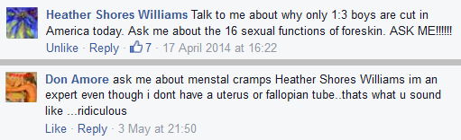 "woman says ""Ask me about .... the foreskin"". Man replies ""Ask me about menstrual cramps."""
